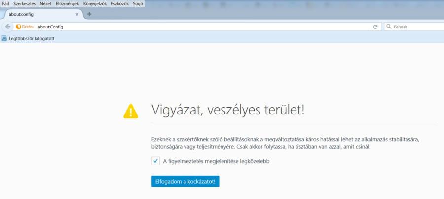 Mozilla Firefox figyelmeztetés